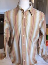 Lucky Brand Mens Striped Cotton Shirt Hipster Hollywood Cool Size Medium