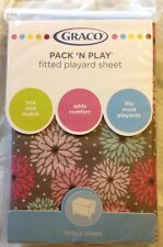 GRACO Pack N Play Fitted Playard Sheet Posie Brown Flowers New NIP