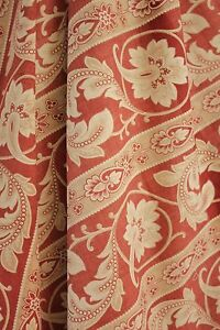 Antique curtain French Fabric 1880 19th century textile w/ trim Arts and Crafts