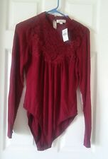 NWT Burgandy Long Sleeve Lacey Body Suit Size L