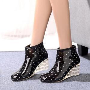 Chic Womens Wedge Heel Ankle Rain Boots Polka Dot Water Resistance Rain Shoes