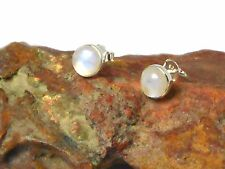MOONSTONE   Sterling  Silver  925 Earrings /  STUDS  - 6 mm  -  Gift Boxed