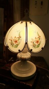 Pretty Little Vintage Boudoir Lamp Metal Glass Lampshade French Country