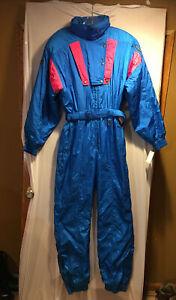 VINTAGE DESENTE WOMENS SKI SUIT W-FT9-XO SIZE U.S. WOMENS L COLOR BLUE / PINK