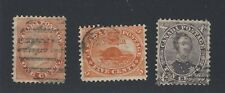 3x Canada Early Stamps #14-1c Victoria F #15-5c Beaver F & #17b-10c GV = $135.00
