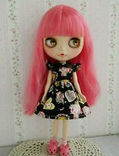 Blythe Doll Outfit colorful print black dress