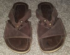 New MERRELL Brown Leather Palau Sandal Rustic Slide with Q-form, Size US 6