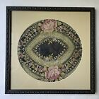Antique silkwork embroidery, Georgian /early Victorian, floral, framed 11 x 11