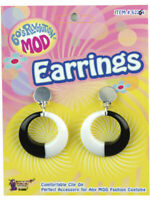 Womens 70's Hippie Black And White Swirl Mod Earrings Costume Accessory