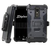Hybrid Hard Armor Case Shockproof Stand Cover Belt Clip Fr LG Stylo 3 / Stylus 3