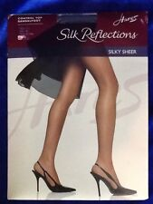 Hanes Silk Reflections Silky Sheer Control Top Sandalfoot Size AB Silver Smoke