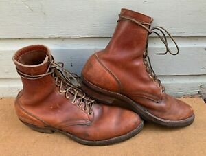 Vintage WHITE'S Brown Leather Chukka Logger Boots Men's Size 14 E Work Hunting
