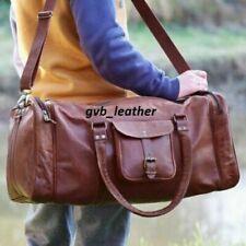 Leather Weekend Luggage Overnight Bag Genuine Natural WaxedMen Duffle Vintage
