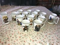 14 VTG 1980's NORMAN ROCKWELL Museum COFFEE MUGS & STEINS Christmas Toys Kids