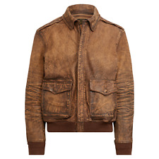 Ralph Lauren Polo Brown Distressed Leather Flight Bomber Jacket New $998