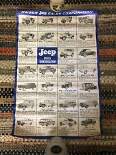 RARE Vtg Kaiser Jeep Sales Corporation Model Identification Wall Chart Poster