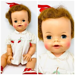 "23"" VINTAGE IDEAL ""BIBSY"" VINYL BABY DOLL W/OPEN MOUTH, 1970, AS IS"