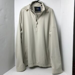 Callaway Golf Collection Hooded Rain Pullover Windbreaker 1/4 Zip Pockets