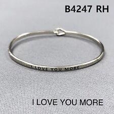 Silver Finished I LOVE YOU MORE Statement Message Engraved Brass Bangle Bracelet