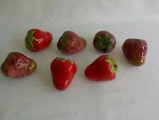 Large Strawberry Ceramic Macrame Beads Total 7 Different Shades Fruit
