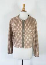 OBUS // Size 3 12 // $349 Caramel Spotted Boxy Cotton Zip Through Jacket
