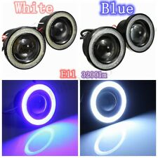"3"" COB LED Fog Light Projector Blue/White Angel Eye Halo Ring DRL Driving Bulbs"