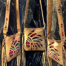 Serape Western Native Indian Leather CROSS BODY Purse w/ Fringe Rodeo Bag USA