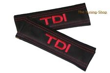 SEAT BELT COVERS PADS BLACK LEATHER EMBROIDERY TDI red stitch for VW VOLKSWAGEN