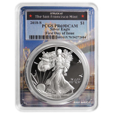 2018-S Proof $1 American Silver Eagle PCGS PR69DCAM FDOI San Francisco Frame