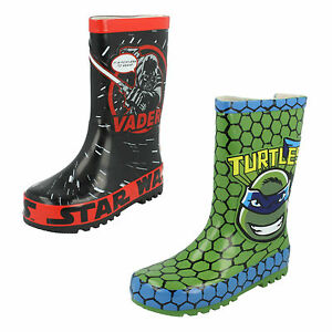 BOYS SIZE GREEN NINJA TURTLES DISNEY STAR WARS VADER BLACK WELLINGTON BOOTS