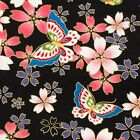 Sakura & butterflies black Japanese Oriental Fabric Cotton Fat Quarter FQ #F0051