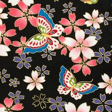Sakura & butterflies black Japanese Oriental Fabric Cotton Fat Quarter FQ #F0051
