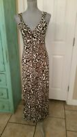 SPENSE, ANIMAL PRINT, SLEEVELESS, STRETCHY, V-NECK, MAXI DRESS, SIZE SMALL