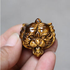 Natural Tiger's Eye Ston Hand Carved Lucky Amulet Tiger Pendant Necklace