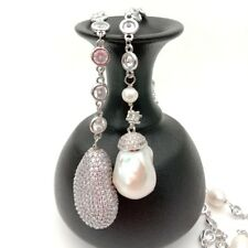 """49"""" White Keshi Pearl Cz Pave Chain Long Necklace"""