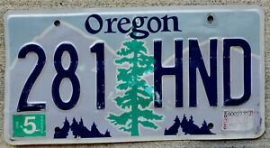 Oregon Pine Tree over Purple Mountains with Blue Sky License Plate