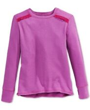Layer 8 Little Girls' Crochet-Accent Thermal Top, Festive Fuchsia, 3T