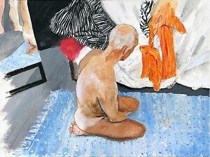 ES IST BLAU NR watercolor NUDE Male painting 1/10/50 Esteban Realism FREE SHIP