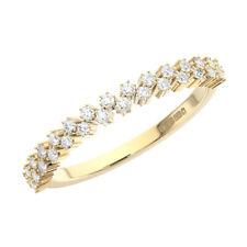 0.30Ct Claw Set Round Cut Diamonds Half Eternity Wedding Ring in 18K Yellow Gold