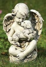 60424 Angel with Puppy Dog Outdoor Garden Statue 12 inch high NEW