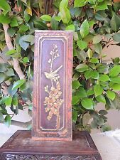 765. Antique Carved Gold Gilt Wood Panel with Bird and Flower