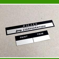 FIREWALL PAINT TRIM & WILLYS JEEP CORPORATION DATA PLATES CJ-3A CJ-3B CJ5 KAISER