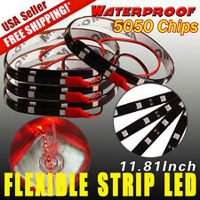 4X 12V 12-LED 30CM Red Waterproof 5050 Car Motor Flexible Light Strip Bar Light