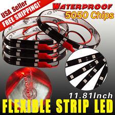 4x12V 12-LED 30CM Pure Red Waterproof Car Motor Flexible Light Strip Bar Light