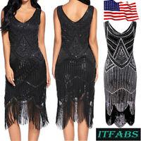 Retro Women 1920s V Neck Flapper Dress Sequin Fringed Vintage Gatsby Party Dress