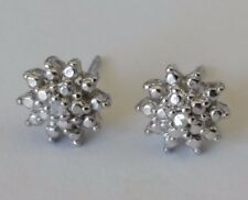 Vintage RJ Sterling Silver & Diamond Starburst Flower Stud Earrings