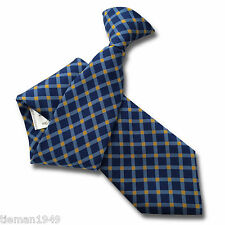 Royal Blue Mens Clip On Tie Clipper - Sky Blue Check and Yellow Diamond Design