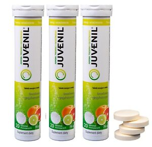 JUVENIL 3 x 20 Effervescent Tablets,Immunity Support,Zinc+Magnesium+B6, FREE P&P