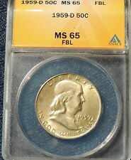 1959-D ANACS MS 65 FBL Franklin Half~Wholesale Priced~Cheapest Certified on Ebay