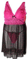 PUCKER UP Women's Babydoll Chemise Thong 2-Piece Set Pink PLUS SIZE 1X~2X